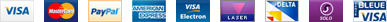 Visa, Mastercard, PayPal, American Express, Electron, Laser, Delta, Solo, Carte Bleue