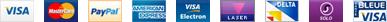 Visa, Mastercard, PayPal, American Express, Electron, Laser, Delta, Solo, Carte Bleue